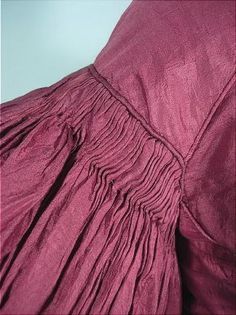 c. early 1830's Burgundy Wine Silk Bodice or Pelisse with Huge Gigot de Mouton (Leg o' Mutton) Sleeves