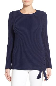 Halogen® Lace-Up Side Cotton Rib Knit Sweater (Regular & Petite) available at #Nordstrom