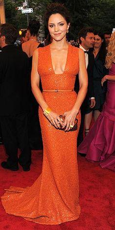 Katharine McPhee wore an Elie Saab #orange beaded gown