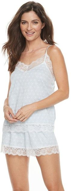 Flora by Flora Nikrooz Women's Flora by Flora Nikrooz Pajamas: Marisa Lace Trim Cami & Shorts PJ Set