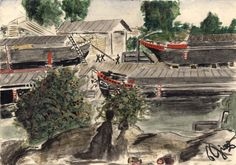 Petr Ginz (1928 - 1944) Boats, Terezin Ghetto, 1942-1944 Watercolor on paper Collection of the Art Museum, Yad Vashem, Jerusalem Gift of Otto Ginz, Haifa