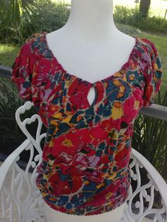 New LUCKY BRAND paisley BOHO Indie Hippie Organic Carefree Sexy Top Medium #LuckyBrand #Top #Casual