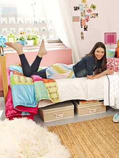 Dorm rooms are notoriously tiny. Under-bed storage is great for saving space and getting some of your clutter out of sight for when friends come to visit! Look for cute cloth or woven options instead of the plastic ones, for a prettier effect.