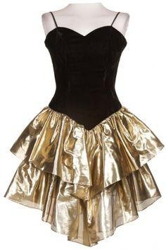 80s Velvet & Lamé RaRa Dress - Vintage clothing from Rokit - 80s dress