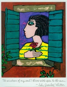 Hand Embellished Print #portrait of Girl at Window with #Rose