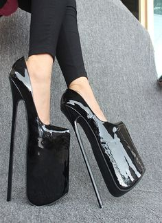 """HEIßE neue 12 """"ferse lackleder pumpe EXTREME high HEEL 30 CM ferse mit plattform dame pumpe sexfetisch slip on thin heel pumpe(China (Mainland))                                                                                                                                                                                 More"""