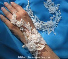 """Свадебные украшения ручной работы. Ярмарка Мастеров - ручная работа """"Свадебные кружева"""", колье и браслет. Handmade."""
