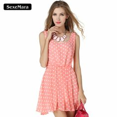 SexeMara 2017 Summer Women White Dot Pink Dresses Backless Jumper Ropa Mujer Vintage Evening Sexy Night Club Dress Ly77