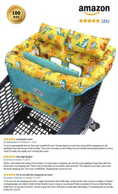 Shopping Cart Cover for Baby with Pillows and Removable Cushions for High Comfort for Your Baby. Includes phone pocket, toy loops, bottle straps, safety belt, and two big pockets. Buy Now on http://www.amazon.com/Shopping-Baby-Protection-All-Pro/dp/B013VWNHXU/