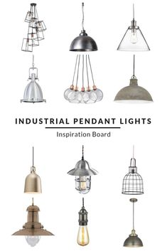 Industrial Pendant Lights - Furnishful's Lighting Ideas - Inspiration Boards, Home Accessories, Industrial Pendant Lights Inspiration Board. Find the perfect pendant lights to complete your industrial look. Whether you are looking for multiple pe. Industrial Ceiling Lights, Industrial Light Fixtures, Living Room Lighting, Kitchen Lighting, House Lighting, Kitchen Extension Lighting, Kitchen Pendent Lights, Hanging Kitchen Lights, Pendant Lighting Bedroom