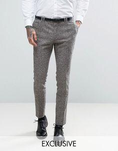 Noak Super Skinny Suit Pants In Fleck Wool