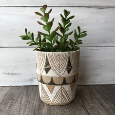 Wheel thrown and hand carved stoneware planter. This listing is in stock and ready to ship! Ceramic Planters, Ceramic Vase, Cerámica Ideas, Marble Console Table, Flower Pot Design, Painted Plant Pots, Pottery Painting Designs, Pottery Classes, Black And White Painting