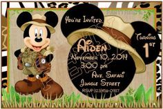 Mickey Mouse Safari Digital Invitations GoPartyFiesta