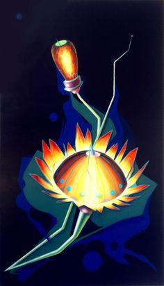 Protea, 2013, olio e acrilico su tela, 70x50 cm - Ignazio Mazzeo #art #painting #ignaziomazzeo #colours #nature