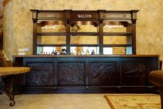 Saloon Bar with Western Accents, Custom Design from Ranch Rack, San Antonio, Texas Western Saloon, Old West Saloon, Old West Decor, San Antonio, Saloon Decor, Ranch, Brown House, Basement House, Attic Renovation