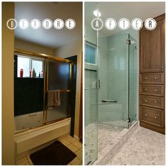 We brightened up this once dark master bathroom with neutral and bright colors.
