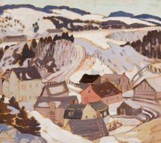 Albert H. Robinson - Winter Village Scene x 13 Oil on panel Canadian Artists, Scene, Oil, Landscape, Winter, Artwork, Painting, Color, Things To Sell
