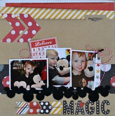 Believe with Leaky Shed's Mouse Balloon Border with DT member Cathy Harper Album Scrapbook, Disney Scrapbook Pages, Scrapbook Sketches, Scrapbook Page Layouts, Scrapbook Paper Crafts, Scrapbooking Ideas, Digital Scrapbooking, Disney Crafts, Disney Fun