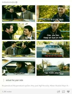 """hahaha """"four year olds"""" Misha Collins Mark Sheppard Jensen Ackles .. Cas' face xD Supernatural"""