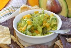 Avocado Mango Guaca-Salsa :)    1/2 cup diced mango  1 avocado, diced   1 slice red onion, finely diced   1 1/2 tbs cilantro, finely chopped   1 Tbs lime juice, freshly squeezed (more if desired!)   salt to taste     Simply place all ingredients in a bowl and mix gently.  Season to taste... and enjoy!