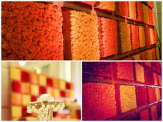 flower wall , genda  flowers , genda phool wall , orange and yellow wall, bright and colourful wall , mehendi function decor