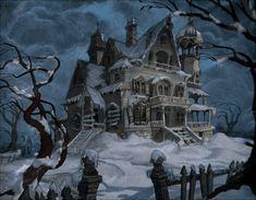 imagen gif-casa abandonada con nieve y viento