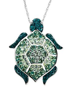 Kaleidoscope Sterling Silver Necklace, Green Swarovski Crystal Turtle Pendant (1-1/6 ct. t.w.)