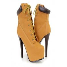 Camel Lace Up Platform High Heel Booties Nubuck