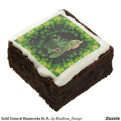 Patrick's Day Brownie created by BlueRose_Design. Chocolate Liquor, Chocolate Gifts, Chocolate Flavors, Artificial Food Coloring, Savannah, Confectioners Glaze, Fudgy Brownies, Gold Coins, Confectionery