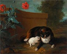 Chatte et chaton, et Chien et perroquet - Jean-Baptiste Oudry 1737