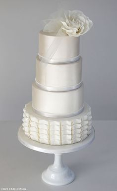 White on White Wedding Cake | by Cove Cake Design on TheCakeBlog.com