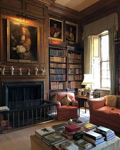 Living Area, Living Room, English Country Decor, Country Life, Home  Libraries, House, Reading Nook, Bookshelves, Dream Library