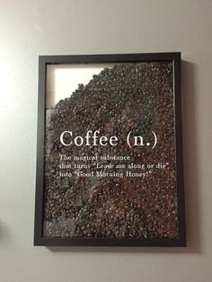 Funny idea for coffee drinkers. Fill picture frame with coffee beans. - Funny idea for coffee drinkers. Fill picture frame with coffee beans. I Love Coffee, Best Coffee, My Coffee, Coffee Beans, Coffee Area, Coffee Time, Cozy Coffee Shop, Coffee Gifts, Black Coffee