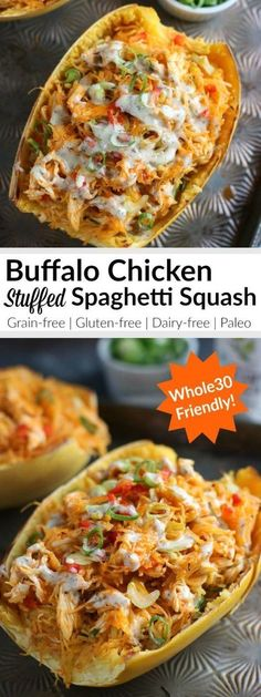 Buffalo Chicken Stuffed Spaghetti Squash: the answer to your Buffalo wing craving (but with more veggies and way more satisfying) Whole30 + Paleo | Serves 4 Whole30 Dinner Recipes, Gluten Free Recipes For Dinner, Easy Dinner Recipes, Dairy Free Dinners, Paleo Meals, Paleo Food, Dairy Free Recipes Healthy, Healthy Easy Recipies, Grilling Recipes
