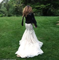 Lace and leather: Leather jackets are the new trend for winter brides ~ Steven Khalil wedding dress