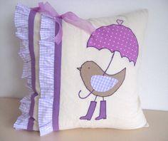 Applique oiseau pluie bottes parapluie violet organza lilas arc volant décoratif accentuer throw pillow couverture affaire Baby pépinière filles chambre décor sur Etsy, 31,21€