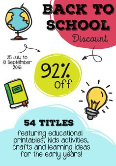 Back to School: Early Years Bundle  54 Titles with over 3800 pages of printables & resources - Value $400 Bundle deal: $29.95