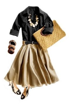 Professional outfit- tan skirt, navy blue or charcoal gray shirt.