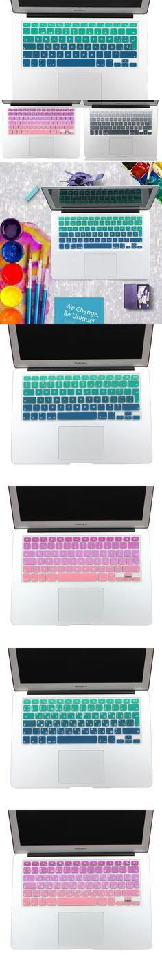 "EU/UK layout Gradient Colors Spain Russia Keyboard Cover Silicone Sticker Skin for MacBook Pro 13"" 15"" Retina MacBook Air 13"""