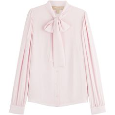 Michael Kors Bow Front Silk Blouse (1.940 RON) ❤ liked on Polyvore featuring tops, blouses, shirts, pink, pink silk blouse, long shirt, long blouse, bow front blouse and silk blouse