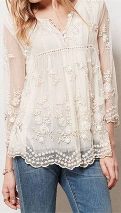 INSPIRATION! Sheer Flower Lace Top ❤︎