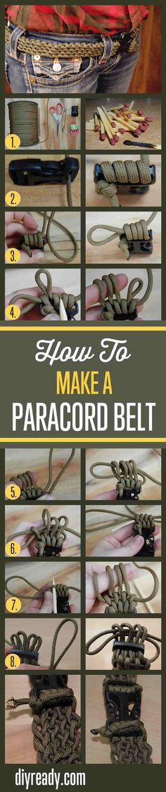 Paracord belt instructions and tutorial show you how to make a 550 paracord survival belt that is quick deploy. Step by step tutorials for cool DIY projects Survival Gadgets, Survival Tools, Camping Survival, Survival Prepping, Emergency Preparedness, Camping Gadgets, Survival Belt, Emergency Bag, Spy Gadgets
