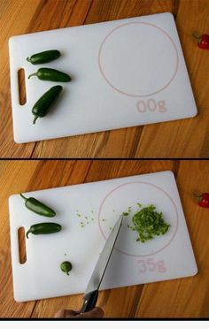 Cutting board with scale! I need to get this!