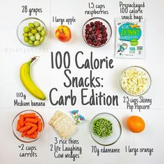 CARBS are bae and snacks are essential. Don't forget . 100 Calorie Snacks, Healthy Protein Snacks, No Calorie Foods, Low Calorie Recipes, Vegan Snacks, Healthy Eating, Healthy Recipes, Low Calorie Fruits, Clean Eating