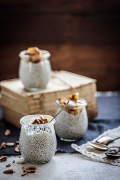 A lovely combination of sticky caramelised pineapple and creamy vanilla coconut chia pudding. A perfect naked treat to get you through the afternoon slump! Food Styling | Food Photography | Dark Food Photography | Moody | Anisa Sabet | The Macadames