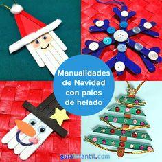 Manualidades de Navidad con palitos de helado para niños. http://www.guiainfantil.com/articulos/navidad/decoracion/adornos-de-navidad-con-palos-de-helado/