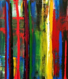 Zé Luiz Morais. Abstrata, acrylic on canvas, 80x70 cm, catálogo: AbstAcrCan35AprilisXVII. Técnica estratigráfica: camadas de tinta sobrepostas, aplicadas em bandas horizontais e verticais, esfregadas, borradas e raspadas; acabamento da superfície: textura predominante lisa. Instrumentos: espátula, desempenadeira emborrachada, rodo-de-mão.