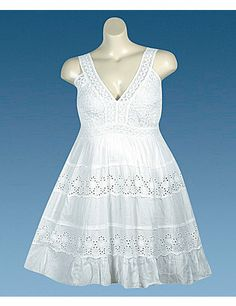 Sweet as pie sleeveless dress has a textured bodice with sheer lace straps, an elastic upper back, and horizontal bands of eyelet across the skirt. Lined. sonsi.com