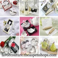 "Great Favor Ideas - Bridal Shower Favors - Baby Shower Favors - Kitchen Theme Favors  ""Slice of Love Pizza Cutter, Love Beyond Measure Measuring Spoons, Cookie CUtters, Tea Bag Caddy and so much more at Favor Couture http://www.favorcouture.theaspenshops.com"
