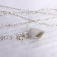 Druzy Fossilized Seashell Necklace with Pearls in by mommyto4, $249.99